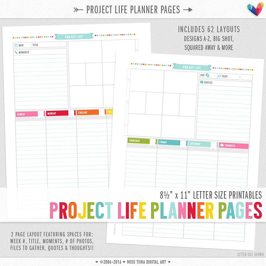 project life layout planner pages - letter